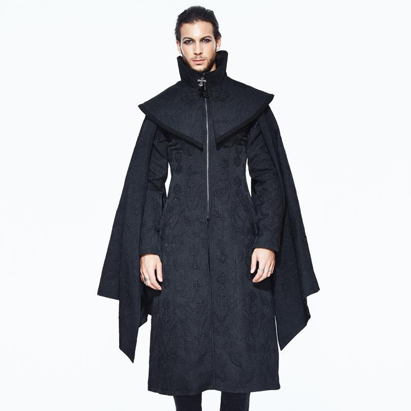 Men's Cape Sleeves Goth Long Coat - PunkDesign