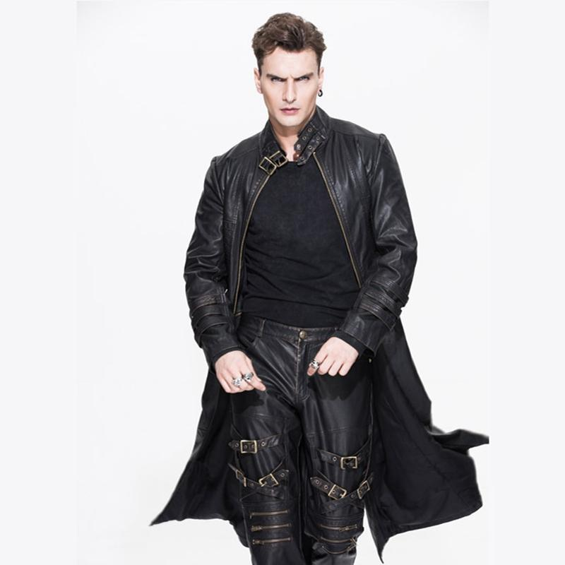 Men's Convertible Punk Leather Coat-Punk Design