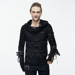 Men's Distressed Ripped Hooded Punk-Shirt With Mesh Underlayer - PunkDesign