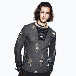 Men's Distressed Round Neck Goth T-Shirt - PunkDesign