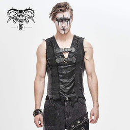 DEVIL FASHION Men's Festivel V-neck Ripped Belts Vests