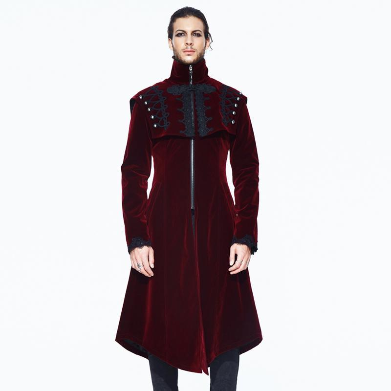 Men's Goth Asymmetric Long Coat - PunkDesign