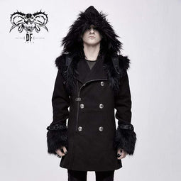 DEVIL FASHION Men's Goth Double-breasted Faux Fur Hooded Coat
