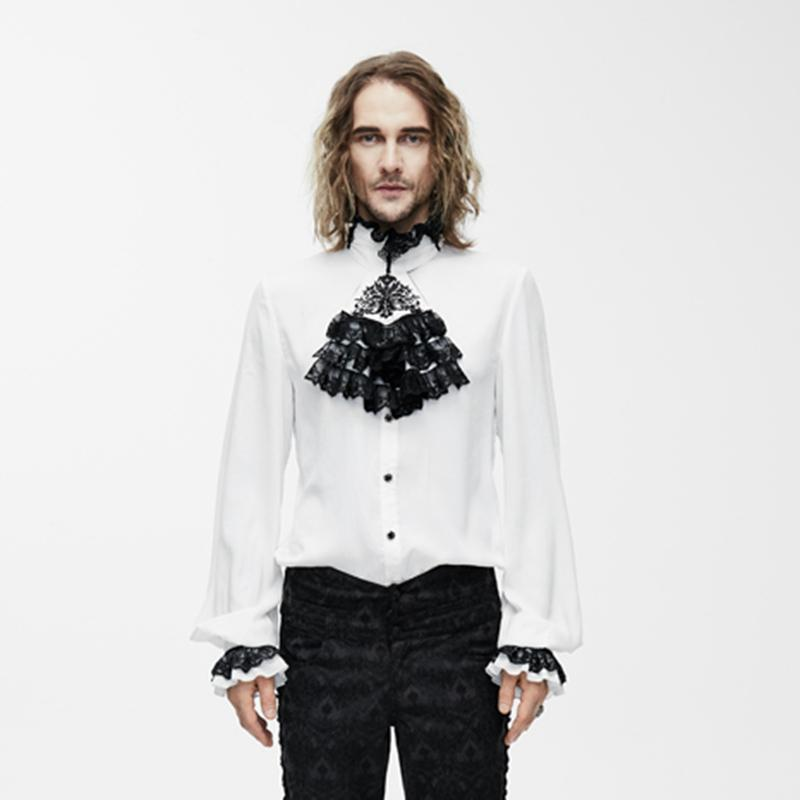Herren Goth Dress Shirt mit dekorativem Jabot - PunkDesign