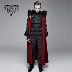 DEVIL FASHION Men's Goth Fur Collar Red Cloak