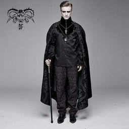 DEVIL FASHION Men's Goth Jacquard Cloak