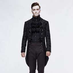 DEVIL FASHION Men's Goth Jacquard Double-breasted Black Dovetail Overcoat