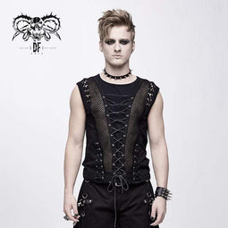 DEVIL FASHION Men's Goth Lacing Mesh Vest