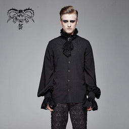 DEVIL FASHION Men's Goth Puff Sleeved Shirt With Bow tie