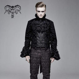 DEVIL FASHION Men's Goth Ruffles Velet Swallow-tailed coat