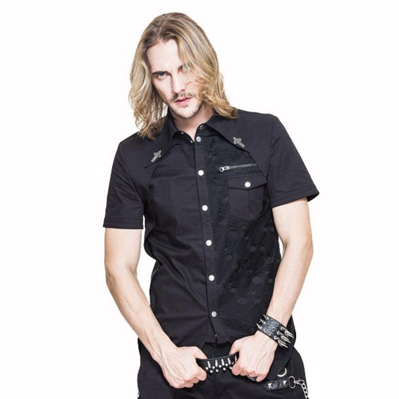 Men's Goth Short Sleeve Asymmetric Shirt - PunkDesign