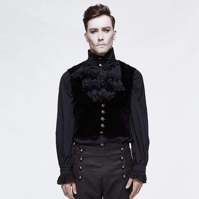 DEVIL FASHION Men's Goth Single-breasted Velet Waistcoat