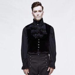 DEVIL FASHION Gilet monopetto Goth da uomo in velluto