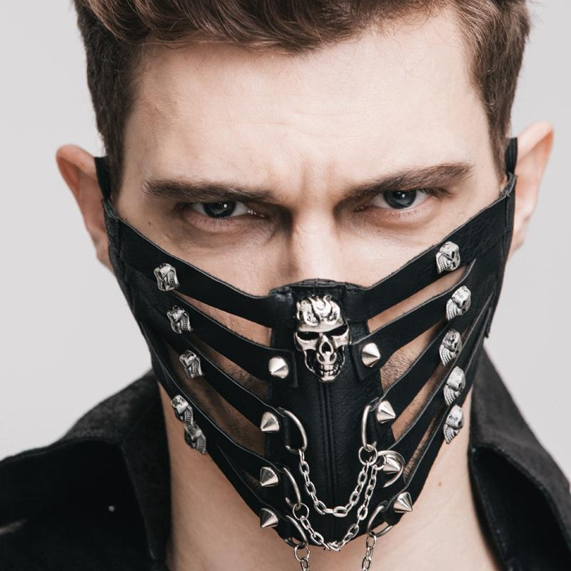 Men's Goth Skull Face Muzzle Mask - PunkDesign