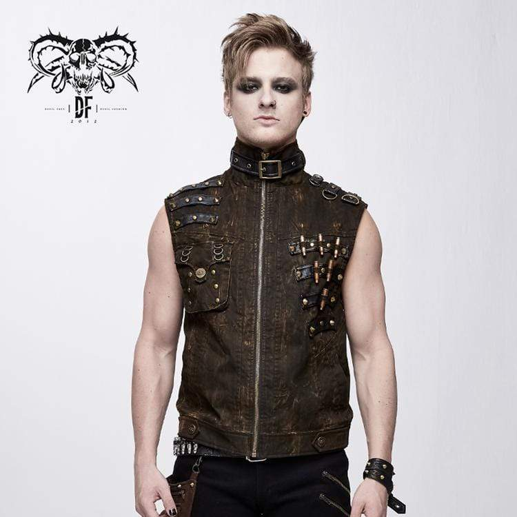 DEVIL FASHION Men's Goth Stand Collar Rivets Waistcoat