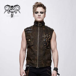 DEVIL FASHION Gilet da uomo con colletto alla coreana Goth