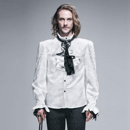 DEVIL FASHION Camicia da uomo in stile gotico con jabot