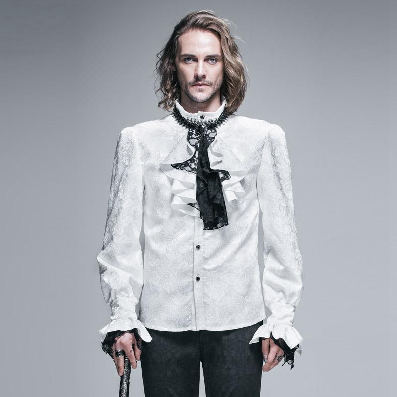 Men's Goth Style Self Design Shirt with Jabot - PunkDesign