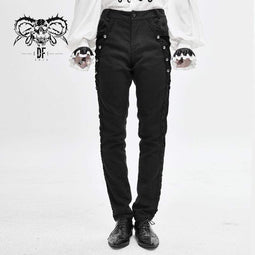 DEVIL FASHION Herren Gothic Back Chain Jacquard Pocket Pants
