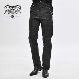DEVIL FASHION Herren Gothic Chinese Button Jacquard Pants