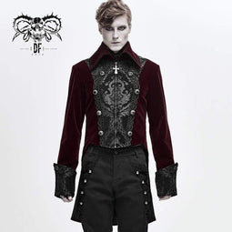 DEVIL FASHION Hommes Gothic Contrast Color Cross Zip Tailcoats Rouge