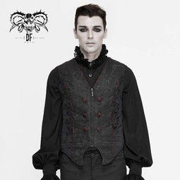 DEVIL FASHION Men's Gothic Contrast Color Zip Jacquard Tailed Vests