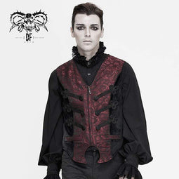 DEVIL FASHION Men's Gothic Contrast Color Zip Jacquard Tailed Vests Dark Red