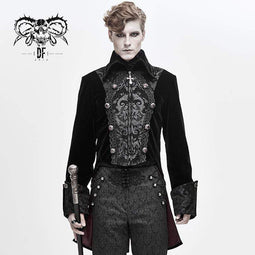 DEVIL FASHION Hommes Gothic Cross Zip Contrast Color Tailcoats