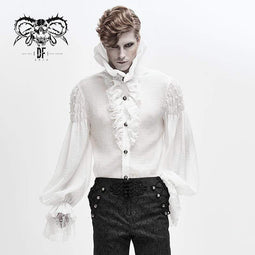 DEVIL FASHION Men's Gothic Falbala Collar Ruffles Puff Sleeves Shirts With Beads