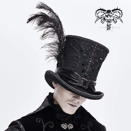 DEVIL FASHION Men's Gothic Feather Rhinestone Hats With Rivets