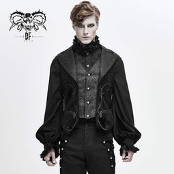 DEVIL FASHION Men's Gothic V-neck Single-breasted Jacquard Tailed Vests