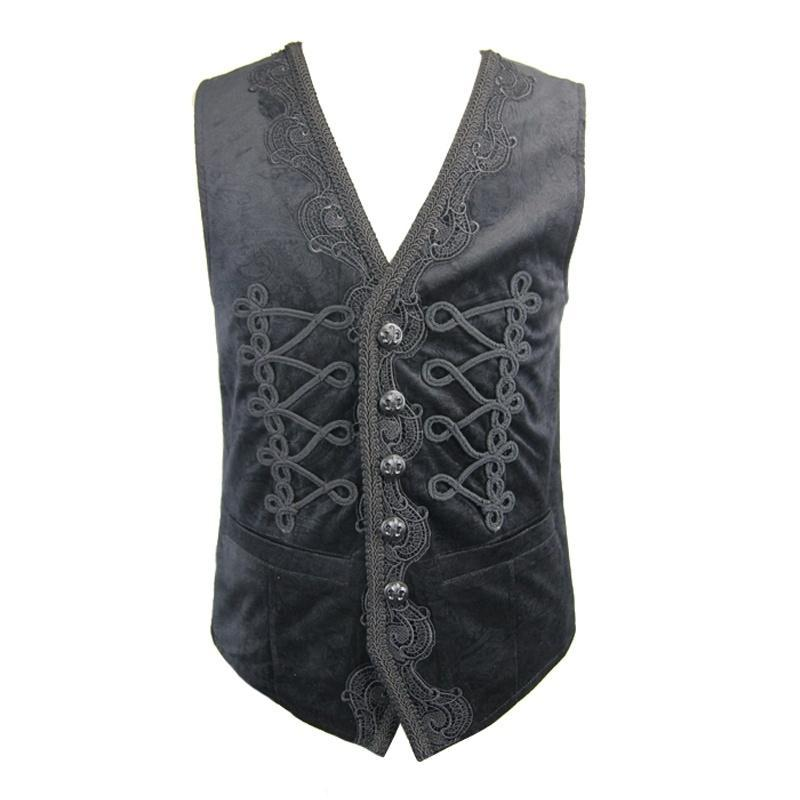 Men's Lace Trimmed Waistcoat - PunkDesign