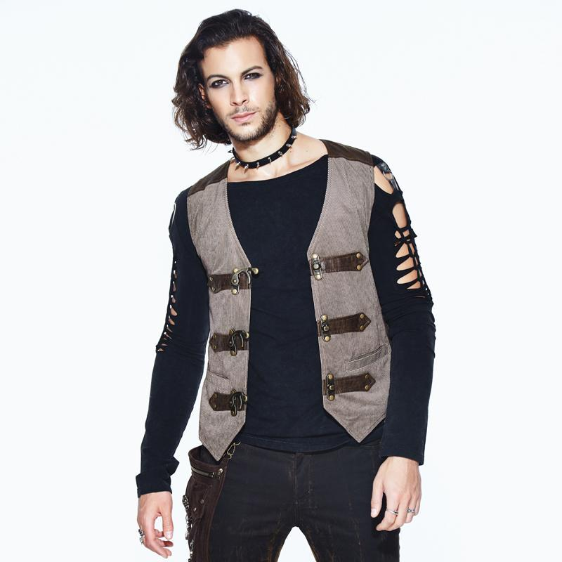 Men's Leather Trimmed Military Style Punk Vest - PunkDesign