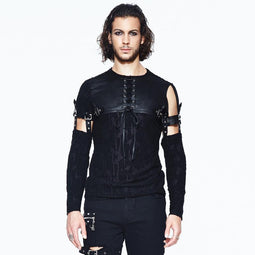 Men's Leather Yoke Goth Shirt - PunkDesign