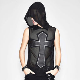 DEVIL FASHION Men's Net Sleeveless Hooded Punk Top