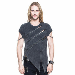 Men's Punk Asymmetric T-shirt With Zip Detailing - PunkDesign