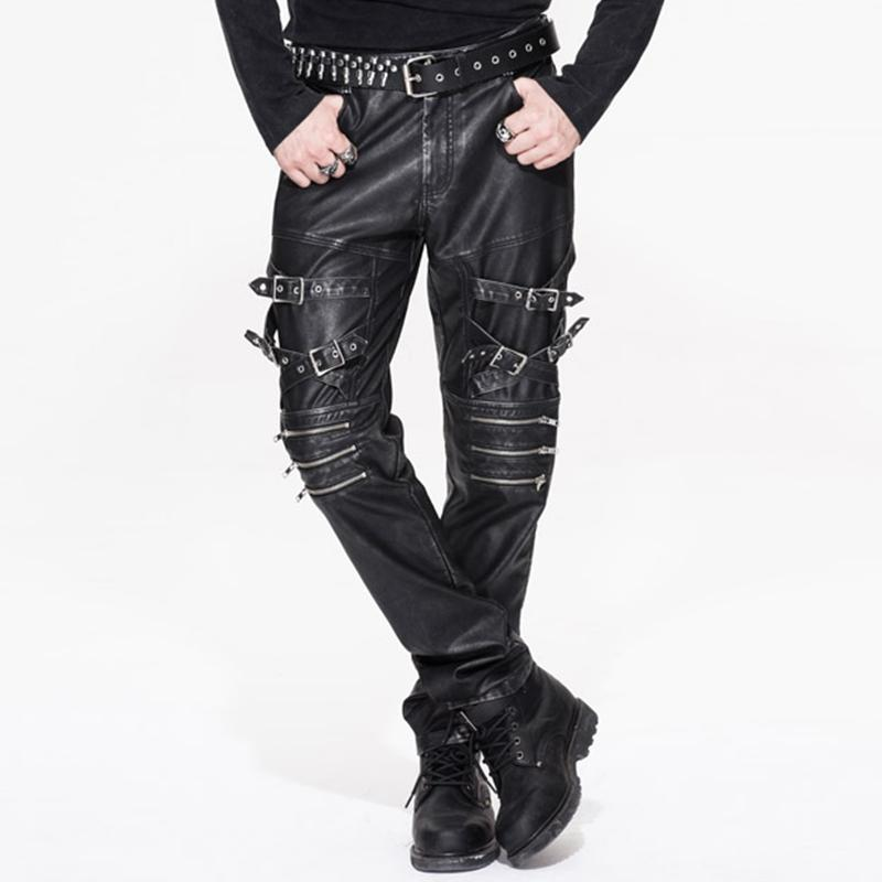 Men's Punk Faux Leather Trousers With Decorative Straps - PunkDesign