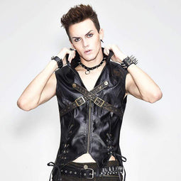 DEVIL FASHION Gilet en similicuir Punk pour homme