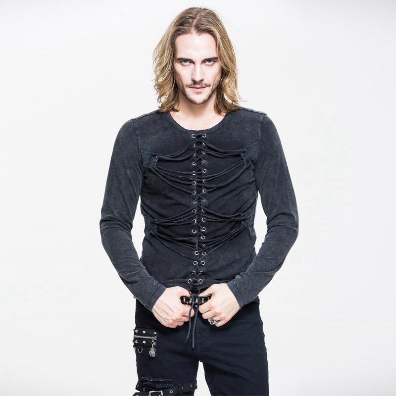 Men's Punk Lace Up Full Sleeve T-Shirt With String Detailing - PunkDesign