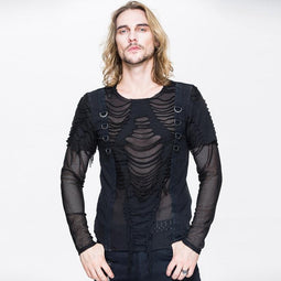 Men's Punk Mesh and Distressed Rip T Shirt - PunkDesign