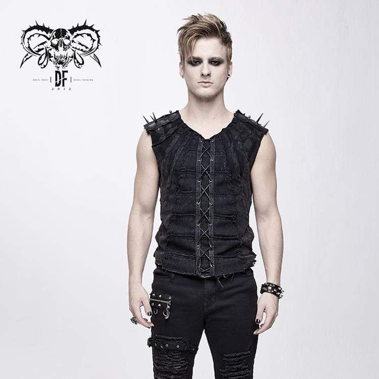 DEVIL FASHION Men's Punk Rivets Lacing Vest