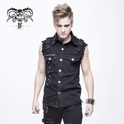 DEVIL FASHION Men's Punk Rivets Ripped Denim Waistcoat