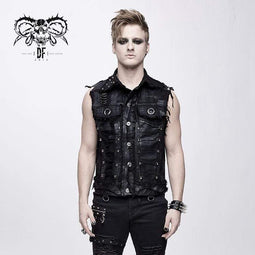 DEVIL FASHION Men's Punk Skull Rivets Ripped Waistcoat