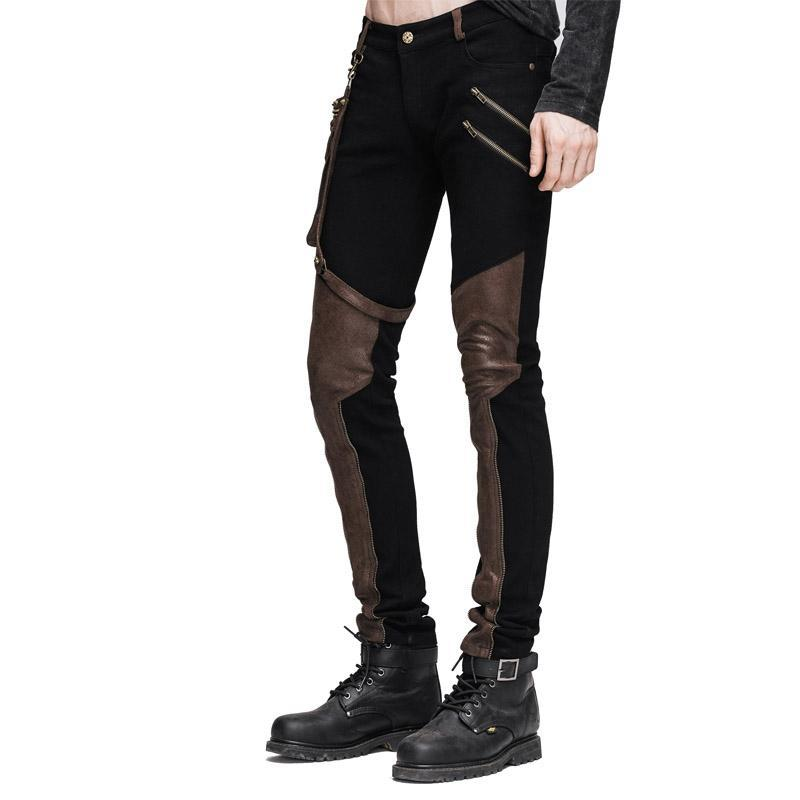 Men's Punk Style Trousers With Faux Leather Patches - PunkDesign