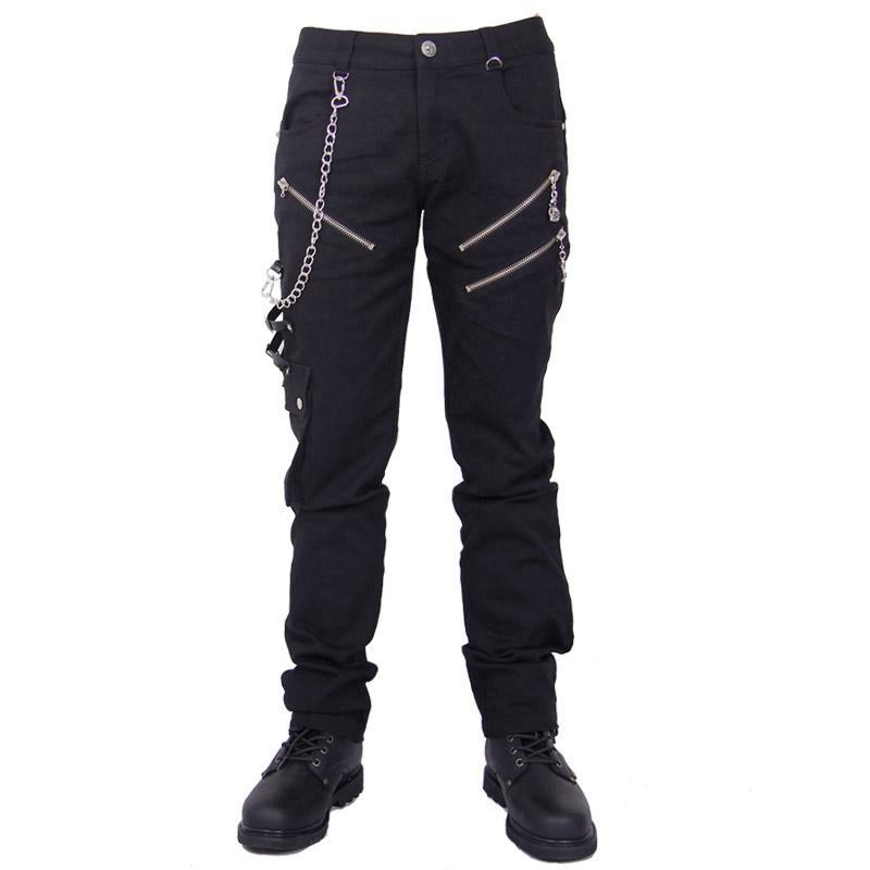 Men's Punk Trousers With Metal Chain - PunkDesign