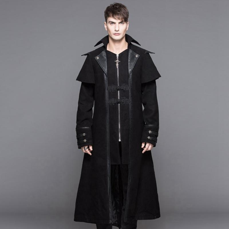 DEVIL FASHION Men's Steampunk Military Style Long Coat