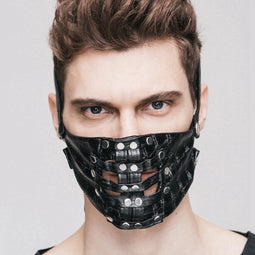 Textured Faux Leather Rivet Punk Mask-Punk-Design für Herren