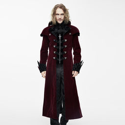 Men's Vintage Goth Overcoat With Leather Details-Punk Design
