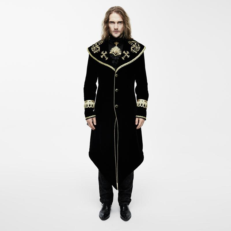 Men's Vintage Overcoat With Gold Embroidery-Punk Design