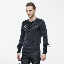Punk T-Shirt With Leather Yoke and Lacing Details-Punk Design